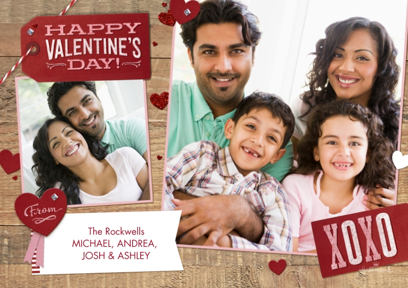 Valentine's Day Cards Mail-for-Me Premium 5x7 Flat Card, Card & Stationery -Valentine Tag & Woodgrain