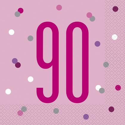 Birthday Glitz Pink & Silver Luncheon Napkins, 16pcs - Age 90