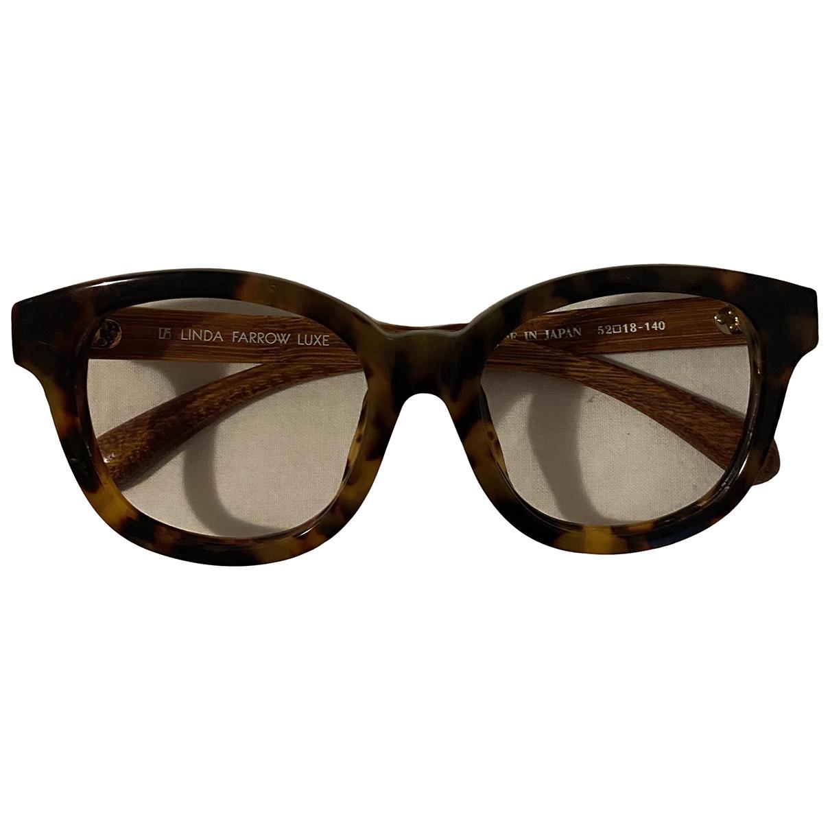 Linda Farrow \N Brown Wood Sunglasses for Women \N