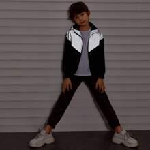 Boys Zip Up Reflective Hooded Windbreaker Jacket