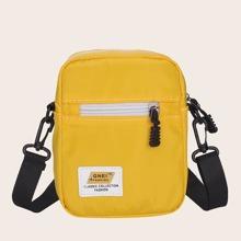 Letter Patch Zip Front Crossbody Bag