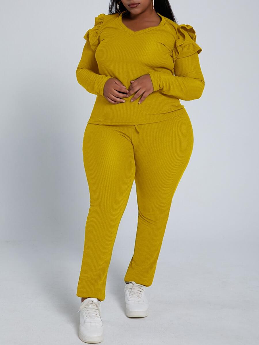LW Lovely Trendy V Neck Flounce Design Yellow Plus Size Two-piece Pants Set