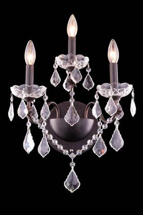 V2015W3DB/SS 2015 St. Francis Collection Wall Sconce D:13In H:17In E:8In Lt:3 Dark Bronze Finish (Swarovski   Elements