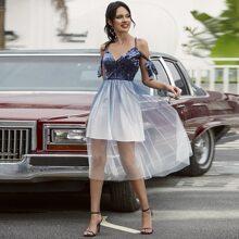 Double Crazy schulterfreies Kleid mit Farbverlauf und Netzstoff