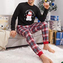 Schlafanzug Set mit Weihnachten und Karikatur Muster