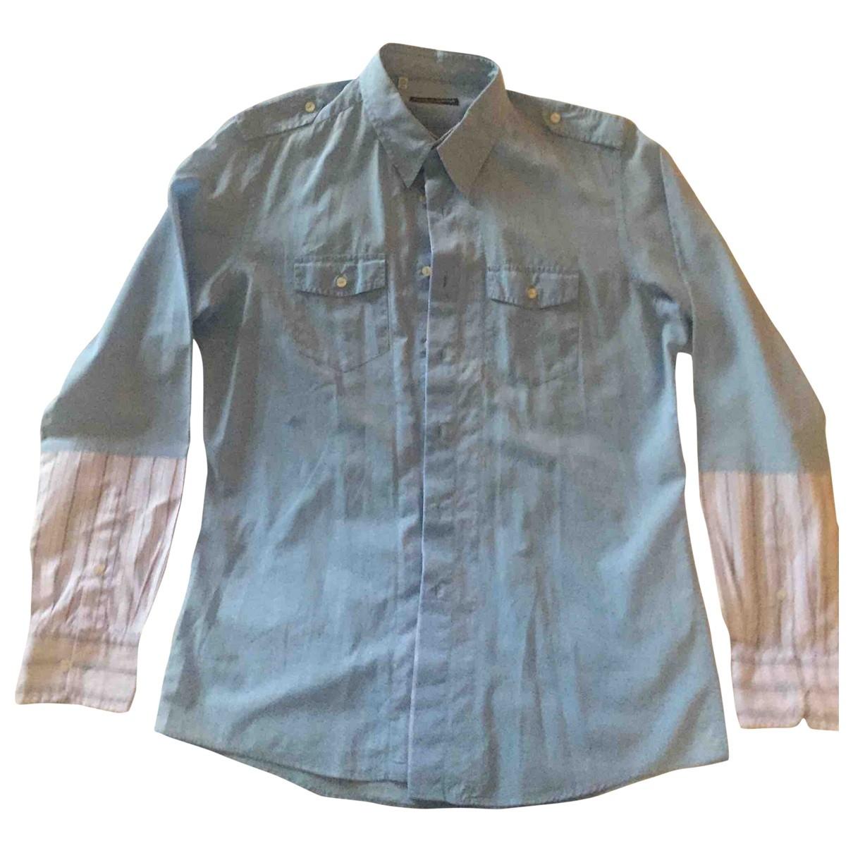 Dolce & Gabbana \N Blue Cotton Shirts for Men 44 EU (tour de cou / collar)