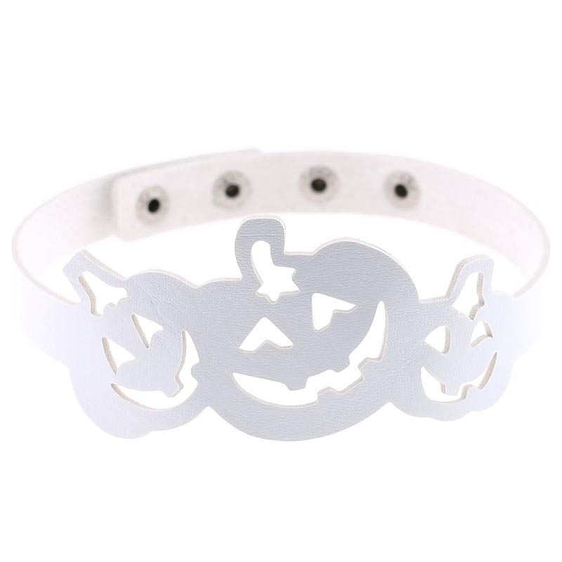 Pumpkin Shape Adjustable Leather Choker Halloween Necklace