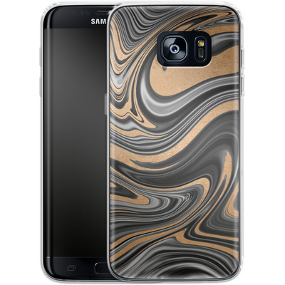 Samsung Galaxy S7 Edge Silikon Handyhuelle - Gold Swirl von #basic
