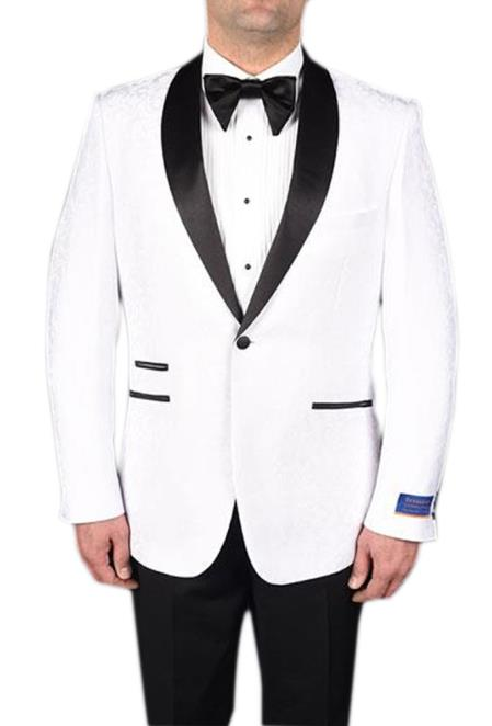 Mens White 1Button Tuxedo Modern Geometric 150s Viscose Blend Jacket