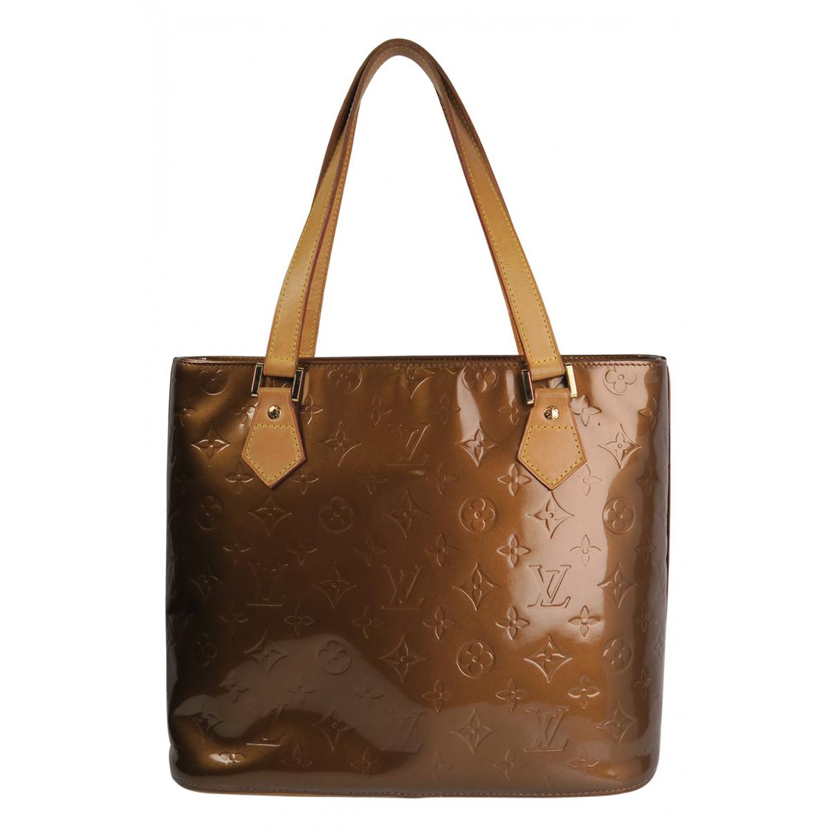 Louis Vuitton - Sac a main Houston pour femme en cuir verni - marron