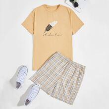 Men Letter and Feather Print Top & Plaid Shorts PJ Set