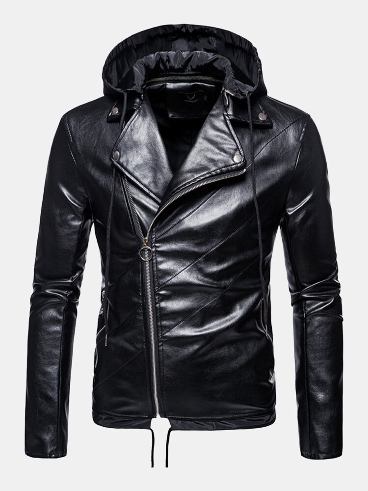 Mens PU Leather Asymmetric Zipper Drawstring Hem Hooded Biker Jackets