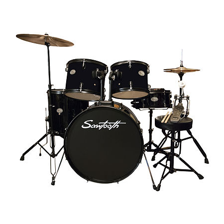 Rise by Sawtooth Full-Size Complete Student Drum Set, One Size , Black