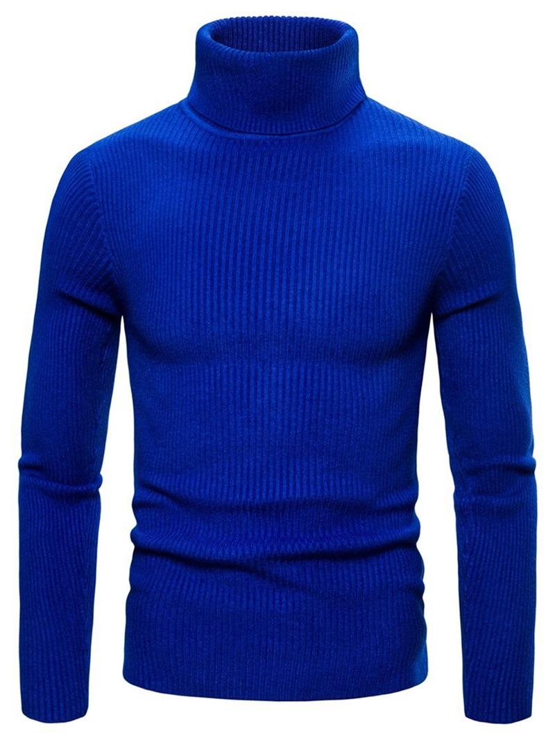 Ericdress Plain Thread Turtleneck Mens Slim Sweater