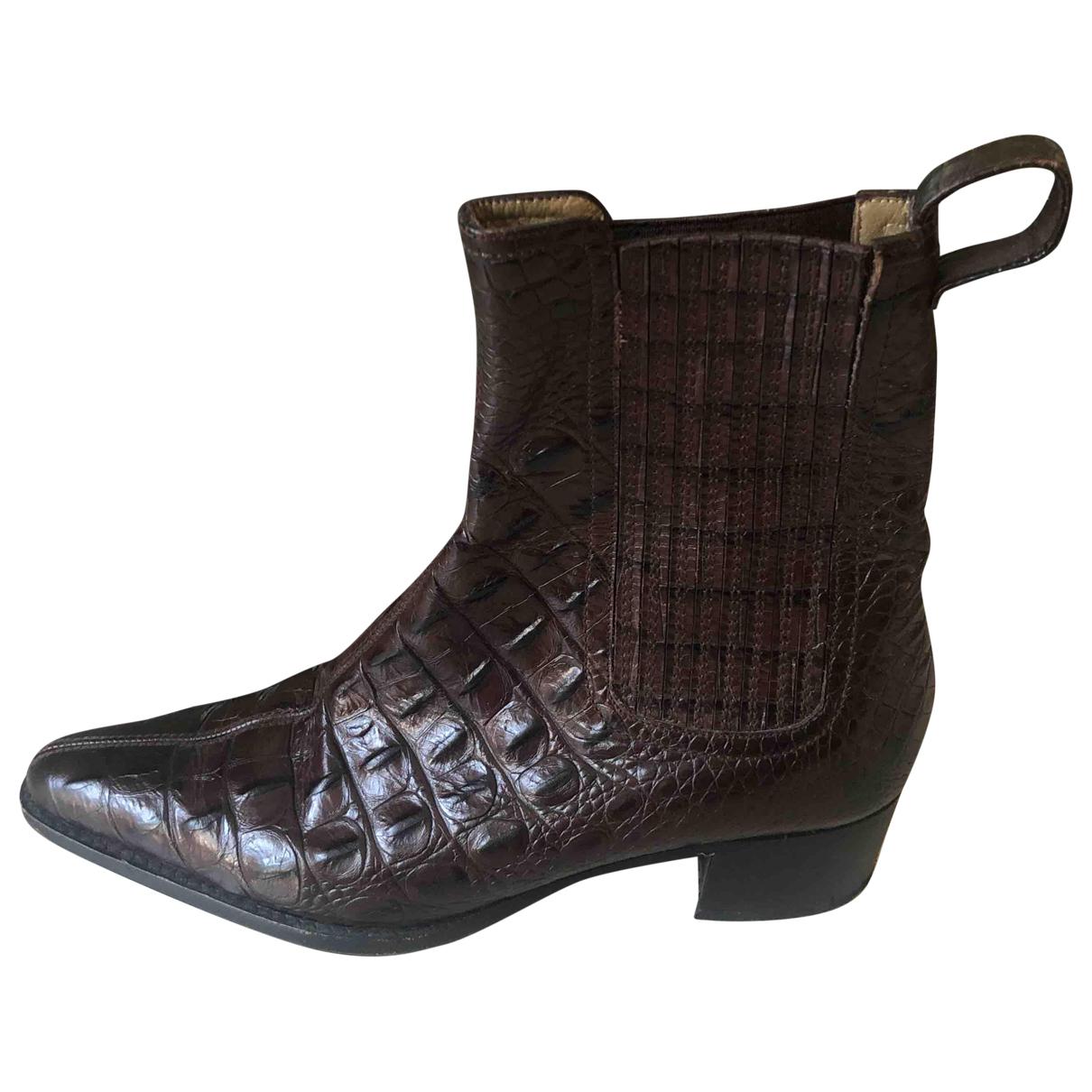 Charles Jourdan N Brown Crocodile Ankle boots for Women 36 EU