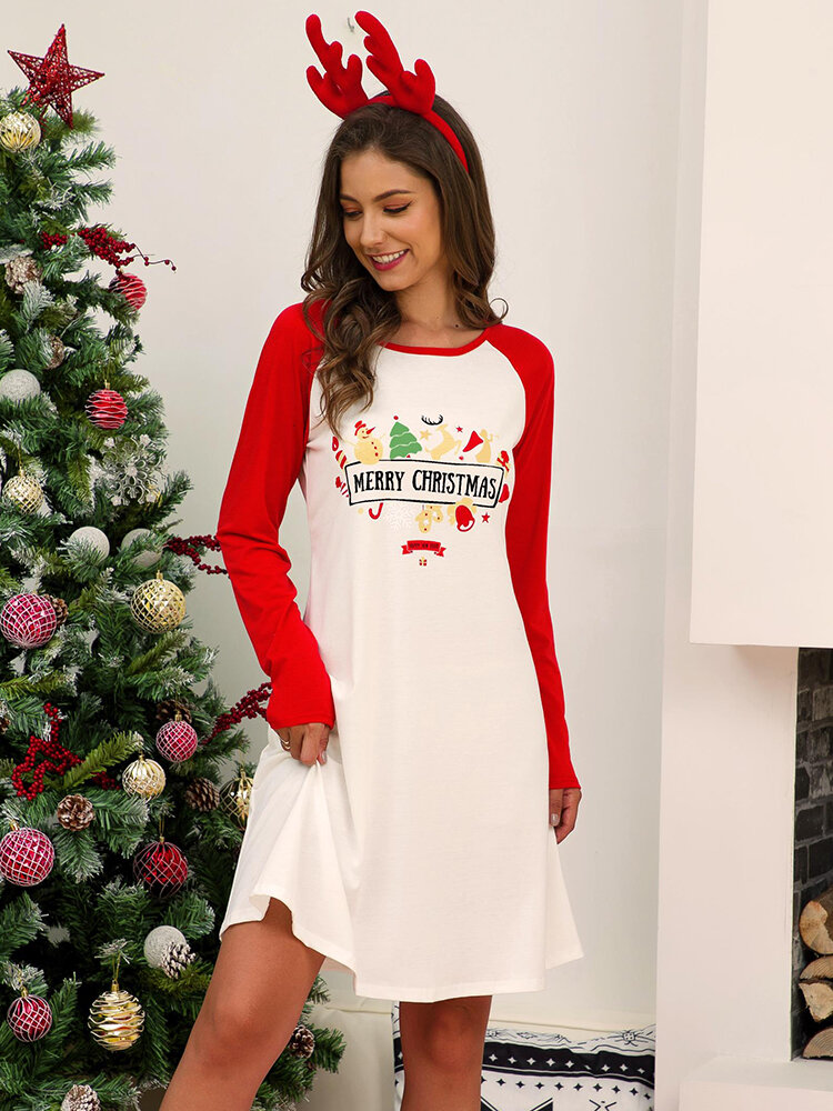 Women Christmas Contrast Color Raglan Sleeve Casual Home Lounge Nightgown