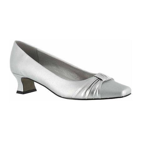 Easy Street Womens Waive Pumps Kitten Heel, 8 Medium, Gray