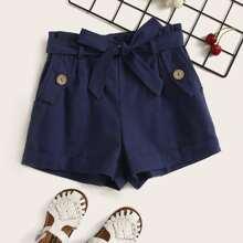 Maedchen Shorts mit Knopfen und Guertel