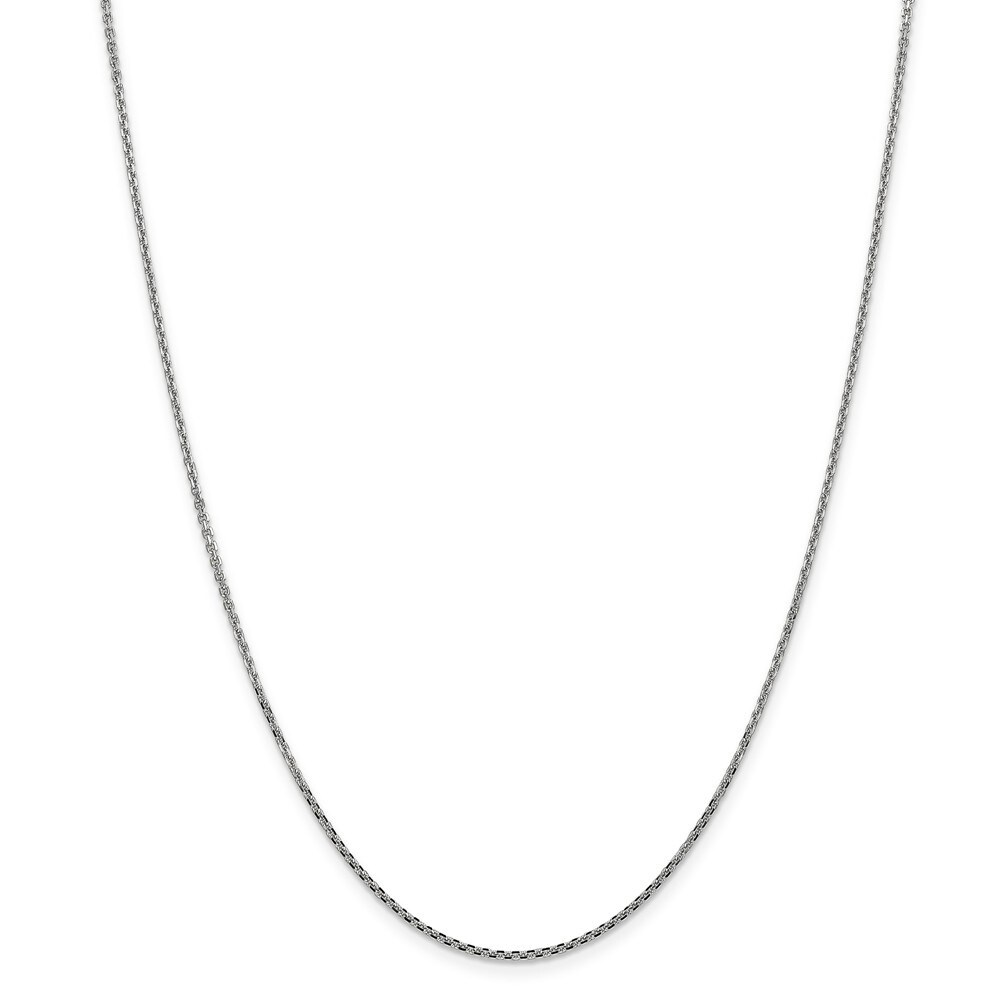 Curata 14k White Gold Solid 1.3mm Diamond-cut Cable Chain Necklace (Lobster) Options 16 18 20 24 (24 Inch)