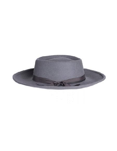 Mens Wide Brim Fedora Grey- Earp Zoot Hat