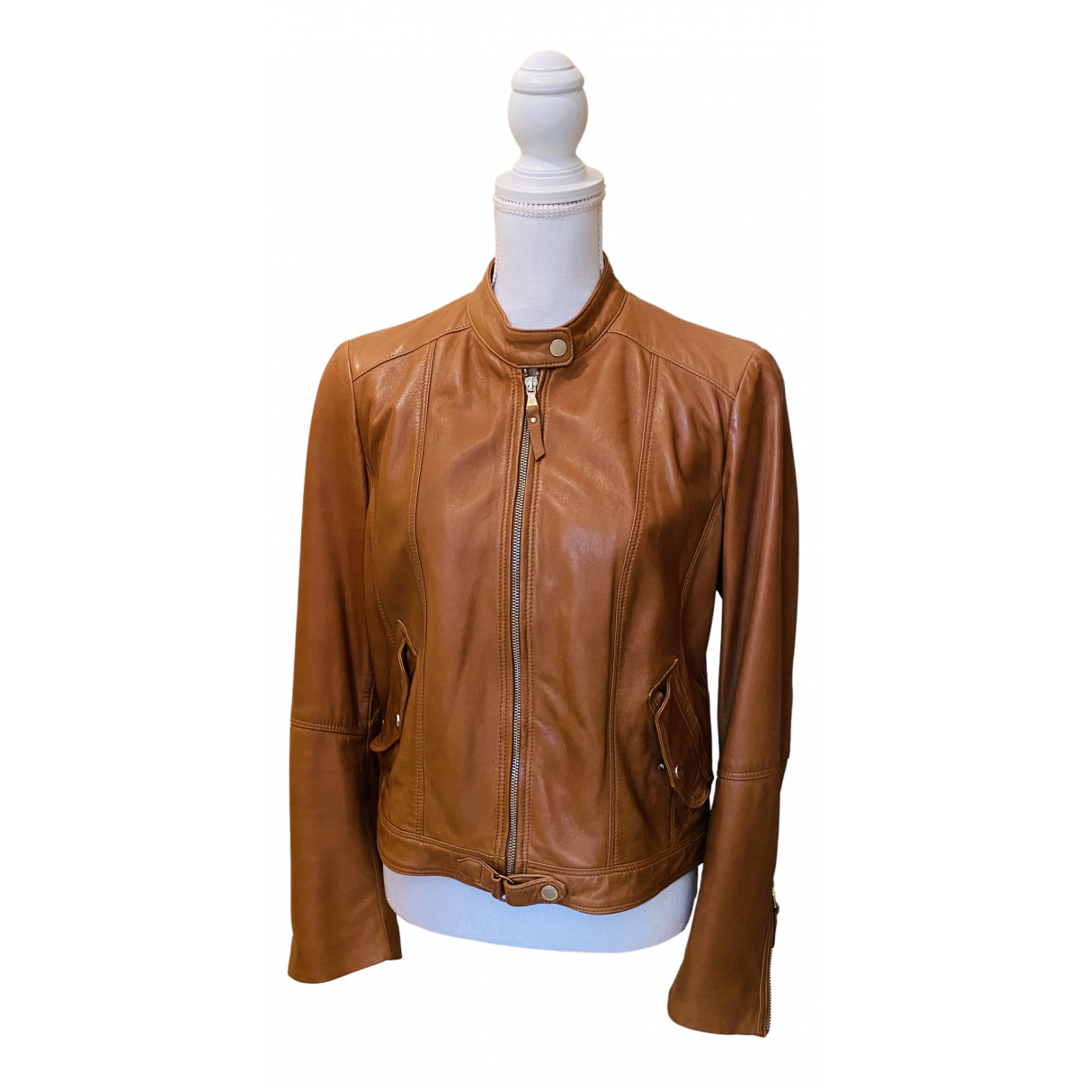 Massimo Dutti N Brown Leather Leather jacket for Women XL International