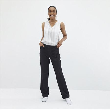 Worthington Womens Straight Leg Perfect Trouser, 10 Petite , Black