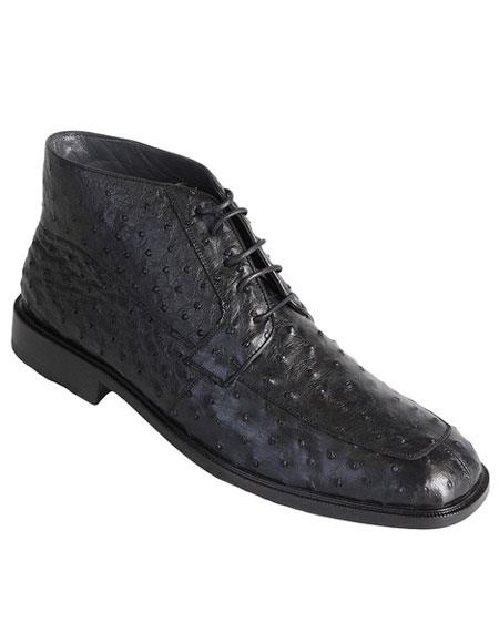 Los Altos Men's Stylish Black Genuine Ostrich Classic Dress Ankle Boot