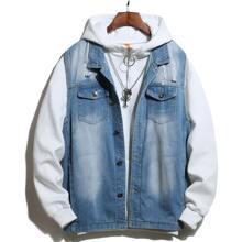 Denim Jacke mit Riss, Waschung ohne Sweatshirt