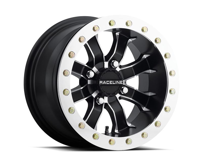 Raceline Wheels A7141011-55 Mamba Black w/ Machine Face 14x10 4x110 (5+5)