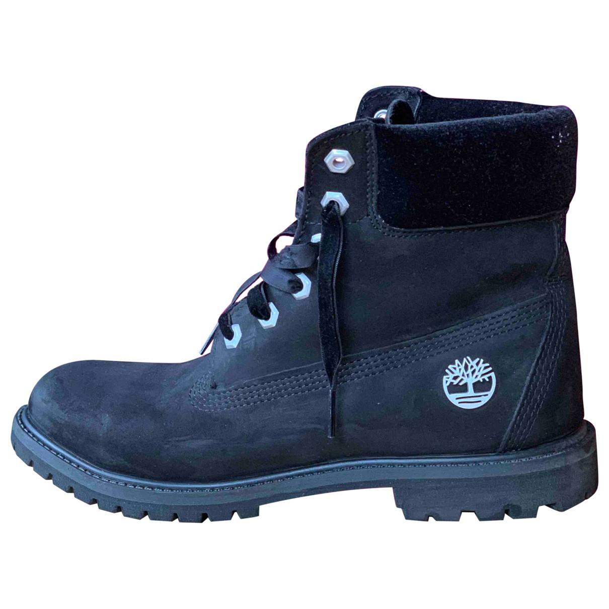 Timberland - Boots   pour femme en cuir - noir
