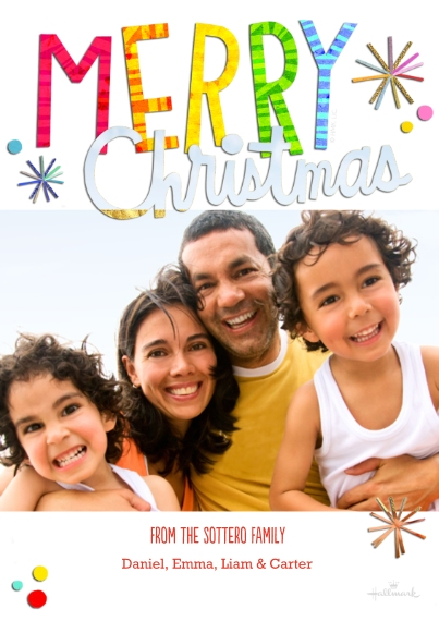 Christmas Photo Cards 5x7 Cards, Premium Cardstock 120lb, Card & Stationery -Colorful and Bright Christmas