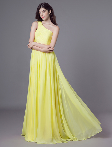 Milanoo Daffodil Bridesmaid Dresses Long Chiffon Prom Dress Side Draping Wedding Party Dress With Detachable Ribbon