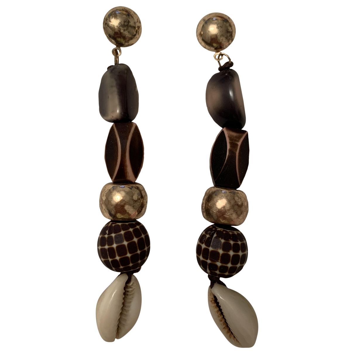 Non Signé / Unsigned Motifs Coquillages Silver Metal Earrings for Women \N