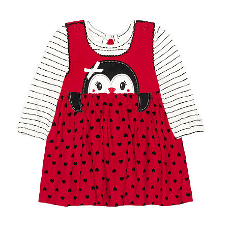 Nannette Baby Girls Long Sleeve Dress Set, 18 Months , Red
