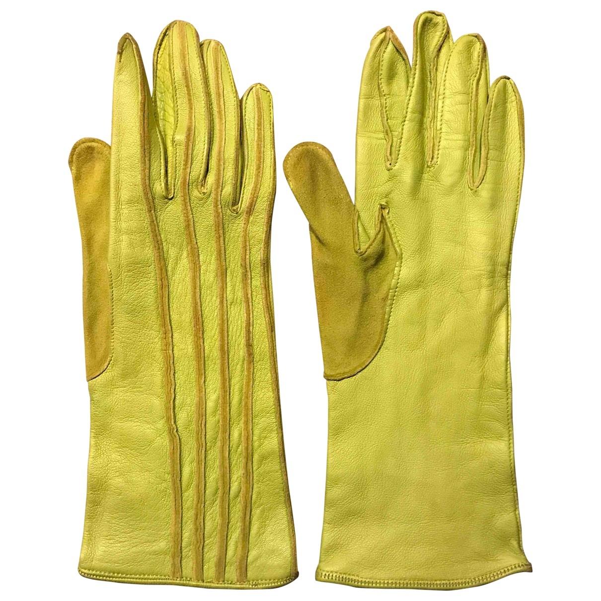 Claude Montana \N Handschuhe in  Gruen Leder