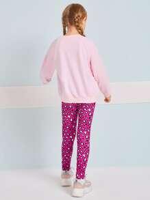 Girls Raglan Sleeve Cartoon Pattern Teddy Pullover & Leopard Leggings Set