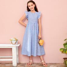 Kleid mit Raffung Armloch und Streifen