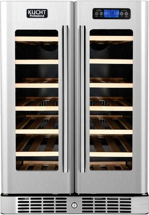 K148AH22 24 Wine Cooler with 40 Bottle Capacity  French Door  Touch-Key Control Panel  Fan Forced Cooling System  Safety Lock and LED Lighting  in