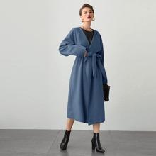 Drop Shoulder Belted Overcoat