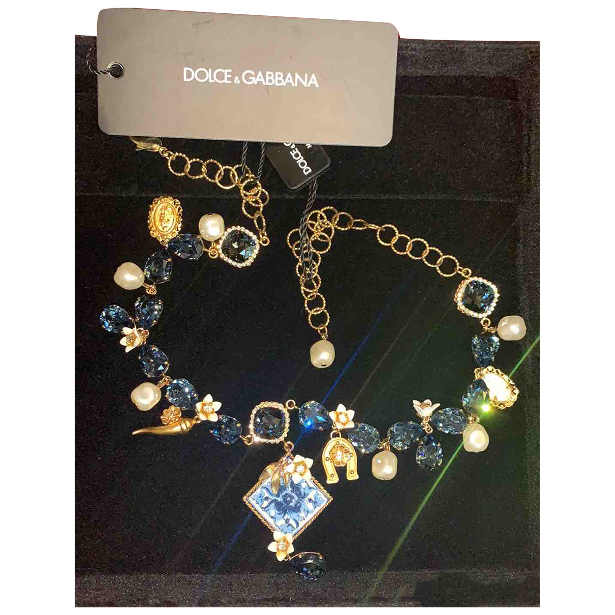 Dolce & Gabbana - Collier   pour femme en metal - bleu