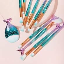 11pcs Fan Shaped Mermaid Handle Makeup Brush Set