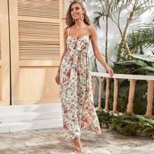 Tie Front Floral Maxi Cami Dress