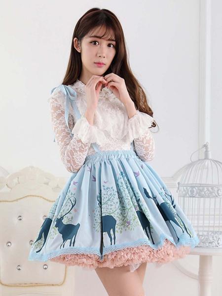 Milanoo Ángulo de encaje azul Lolita poliester faldas