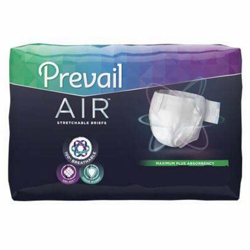 Unisex Adult Incontinence Brief Prevail Air Tab Closure Size 2 Disposable Heavy Absorbency - 18 Bags by First Quality