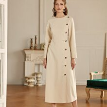 Button Front Solid A-line Dress