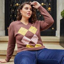 Pullover mit Argyle Muster und V Kragen
