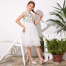 Weiss Reissverschluss  Gebluemt  Glamouros Maedchen Kleider