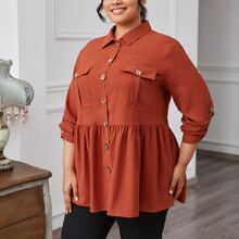 Plus Roll Tab Sleeve Flap Pocket Peplum Top