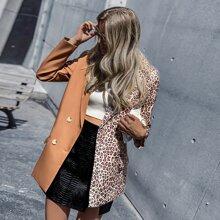 Two Tone Leopard Print Blazer