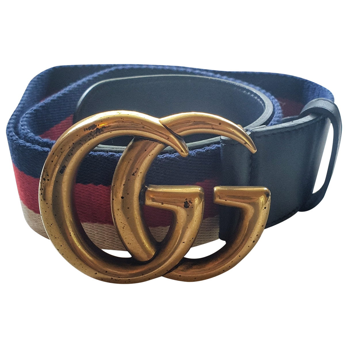 Gucci GG Buckle Navy Cloth belt for Women 75 cm